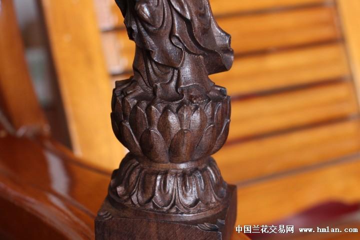越南沉香木木雕工艺品莲花观音木雕【32cm】